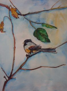 Watercolor Chickadee Bird Painting Original by VargasArtstudio, $40.00