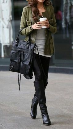 Fall outfit with military jacket