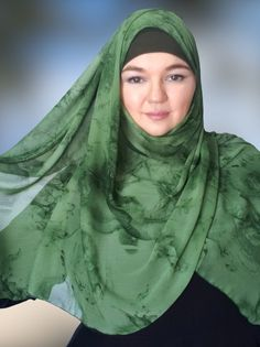 Chiffon hijabs Hard Working Women, Working Woman, Gold Gift Boxes, Medical Scrubs, Coordinating Colors, Shades Of Green, Knitted Fabric, Chiffon, Take That