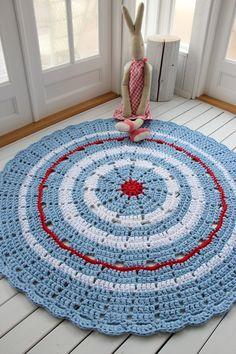 Sweet Blue 150cm T Shirt Yarn, Room Rugs, Kids Rugs, House Design, Pillows, Creative, Sweet, Home Decor, Crochet Carpet