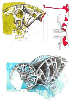 Great ideation marker/watercolor wheel design sketches for Qoros 2 PHEV by Salvatore Aita, Qoros Design Team Munich