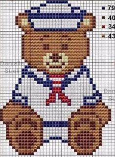 Cross Stitch Baby, Cross Stitch Animals, Crochet Blanket Patterns, Baby Knitting Patterns, Cross Stitching, Cross Stitch Embroidery, Cross Stitch Designs, Cross Stitch Patterns, Marine Style