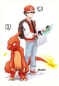 Red and Charmeleon from Pokemon Red and Green/Blue by 150 Pokemon, Pokemon Comics, Pokemon Go Red Team, Pokemon Trainer Red, Pokemon Fan Art, Pokemon Images, Pokemon Pictures, Red Trainers, Otaku