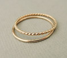 Thin Gold Ring - gold filled rings - gold twist ring - smooth gold ring - Stacking Rings - midi ring - thumb ring
