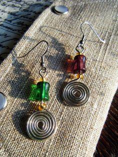 Mardi Gras Mismatched Spiral Earrings Purple and Green by ElfRenee, $10.00 #jewelry #earrings #Mardi Gras