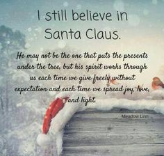 I Still Believe In Santa Claus But I Believe In The Reason For The Season.  The True Meaning Of Christmas.