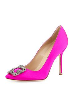Hangisi Crystal-Buckle Satin 105mm Pump, Fuchsia by Manolo Blahnik at Neiman Marcus.