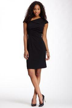 Elie Tahari Asymmetrical Gathered Dress