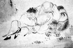 Mokuan Reien (d. 1345). The Four Sleepers (Shisui zu). Ink on paper. 73.7 x 32.5cm. Maeda Ikutokukai, Tokyo.