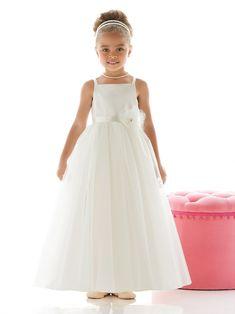Exquis Fourreau Avec bretelles Sans manches Perle Ceintures / Rubans Fleurs fabriquées à la main Longueur ras du sol Satin Tulle Flower Girl Dresses
