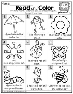 I enjoyed making our new Spring Math and Literacy Packet for Kindergarten! This packet is filled with FUN, E Learning, Teaching Reading, Kindergarten Reading Comprehension, Comprehension Activities, English Activities, Literacy Activities, Activities For 5 Year Olds, Kindergarten Reading Activities, First Day Of School Activities