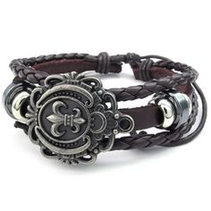 KONOV Jewelry Mens Womens Leather Bracelet, Fleur De Lis Charm Bangle, Fit 7-9 inch, Brown Add it to your wishlist at yourwishfromme.com