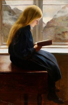 Johan Gudmundsen-Holmgreen (Danish painter) 1858 - 1912 Læsende Lille Pige (A Little Girl Reading), 1900 oil on canvas 107 x 70 cm. Reading Art, Woman Reading, Reading Books, Children Reading, I Love Books, Books To Read, Lectures, Beautiful Paintings, Oeuvre D'art