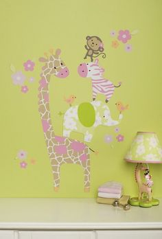 Jungle Cartoon Animals Wall Stickers Murals for Baby Bedroom Interior Decoration Ideas