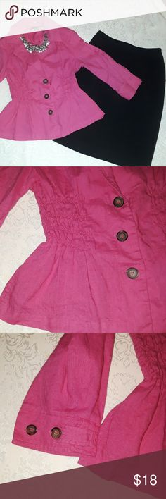 "Silk Land LINEN jacket in hot pink color Beautiful Silk Lank size M 100% Linen jacket blazer in hot pink color.  The waist is elastic for a perfect fit.  This will fit a size small as well because of the elastic waist.  Jacket lengh is 22"". Linen Silk Jackets & Coats Blazers"