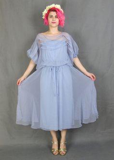 70s Sheer Lilac Dress Layered Purple Prom Dress by honeymoonmuse