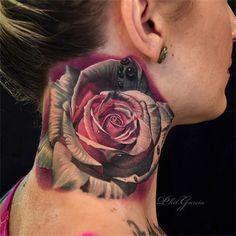3D Rose neck tattoo - 3D flower tattoos are appealing. #TattooModels #tattoo