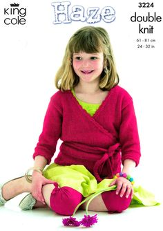 King Cole 3224 Girl Pretty Ballet Top Knitting Pattern, Wrap Over, Fairytale Princess, Dance, Party, Waist Ties, Cute, Modern, See Pics