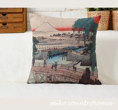 "$15 | Hiroshige Ukiyo-e Art | Decorative Throw Pillow Cover | 45x45cm 18""x18"" #homedecor #throwpillows #pillowcover #ukiyoe #Japonaiserie #hiroshigeart #andohiroshige #utagawahiroshige"