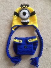 Hand Crochet  Baby Despicable Me Minion Photo prop Diaper Cover and Hat - NEW