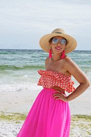 Crop top summer look, crop top and maxi skirt outfit, Tassel earring, pink tassel earring, Oversized fedora, straw fedora, Vacation look, beach outfit, off the shoulder swimsuit, pink maxi dress, beach modest outfit, flamingo swimsuit, ruffled bikini, one piece off the shoulder swimsuit, from beach to street, flamingos