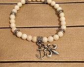 Nautical Anchor & Fleur de Lis Bead Stack Bracelet