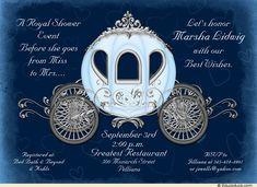 Deep Blue & Silver-Gray Shower Invitation