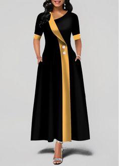 Party Dresses For Women Asymmetric Neck Button Detail Pocket Maxi Dress Tight Dresses, Trendy Dresses, Women's Dresses, Dresses Online, Dress Outfits, Fashion Outfits, Dress Fashion, Ladies Dresses, Long Dresses
