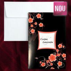 Invitatie predominata de culoarea neagra, ornata cu inseratii florale roz somon lacuite stralucitor in relief, ce prezinta in centru un decupaj cu chenar portocaliu in care sunt tiparite numele (initialele) mirilor.  Acesteanecesita o alta trecere si se  platesc separat (tiparire: 0.25 lei/buc). Plicul este inclus in pret.  Pret tiparire:  0.35 lei/buc – negru  0.49 lei/buc – color  0.80 lei/buc – auriu, argintiu. #invitatie de #nunta #mirese #miri #invitatii #elegante #originale Tote Bag, Totes, Tote Bags