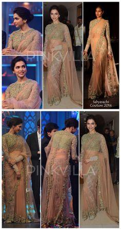 Saree: Deepika Padukone in Saree. Trendy Sarees, Stylish Sarees, Fancy Sarees, Lace Saree, Saree Dress, Indian Bridal Outfits, Indian Designer Outfits, Pakistani Dresses, Indian Dresses