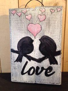 LOVE BIRD HANDMADE Pallet Wedding Rustic Country SIGN Wall Decor Art HEART PINK   eBay