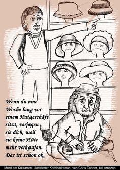 "#Bettler vor Hutgeschäft. ""Mord am Kudamm"". Illustrierter #Krimi. / The #beggar before the hat shop. ""Murder on the Kurfürstendamm"". Illustrated #detective novel. www.gutenachtgeschichten24.com/mord-am-ku-damm-berlin-krimi/"