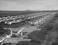 B-24 Liberator bombers await further disassembly at Kingman Army Airfield, by Peter Stackpole for LIFE Magazine (1947)