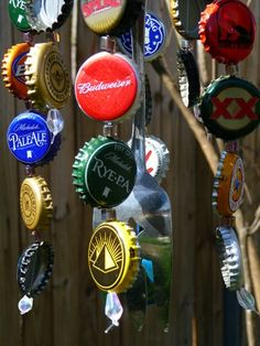 recycled bottlecaps wind chime