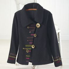 Asymmetric Ribbon Trimmed Jacket – Womens Clothing, Jewelry, Fashion Accessories and Gifts for Women with a Flair of the Outdoors Damen, Stil: Asymmetrische, mit Bändern besetzte Jacke – Damenbekleidung … Sewing Clothes, Diy Clothes, Clothes For Women, Mode Batik, Boiled Wool Jacket, Classic Wardrobe, Outerwear Women, Outerwear Jackets, Refashion