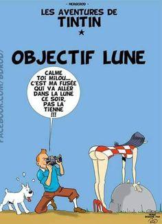 Tintin revisité : Objectif Lune (Hergé dessiné par ROD)   issyparis