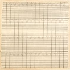 """Agnes Martin, """"Untitled"""" (1960), ink and graphite on paper, 8 1/2 x 8 1/2 inches (21.6 x 21.6 cm) (courtesy The Elkon Gallery, New York, © 2015 Agnes Martin/Artists Rights Society, ARS, New York)"""