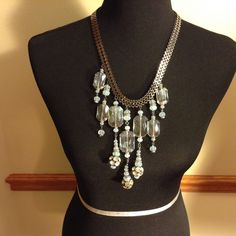 Traci Lynn Chandelier Necklace Very Stunning Necklace!! The color is like iridescent blue and crystal like glass jewels Jewelry Necklaces