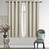#4: Nicetown Upgraded Triple Weave Microfiber Home Thermal Insulated Ring Top Blackout Curtains / Drapes for Bedroom(Set of 252 x 63 InchBeige)