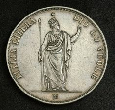 Coins of Italy, Revolutionary provisional government of Lombardy Venetia 5 Lire Silver coin minted in 1848. Italian coins, Italian Coinage, Italian silver coins, Numismatic Collection, Coins of Italy best silver coins for investment.