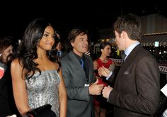 """Actress Meagan Tandy, co-president and CCO Domestic Theatrical Marketing Twentieth Century Fox Tony Sella, and actor Chris Pine arrive at the premiere of Twentieth Century Fox's """"Unstoppable"""" at Regency Village Theater on October 26, 2010 in Westwood, California."""