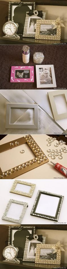 DIY Glamorous Picture Frame with glass gems from the dollar tree store.
