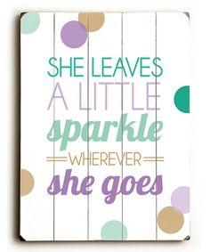 Teal 'Sparkle' Wood Wall Art #zulily #zulilyfinds