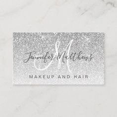 Girly Glam Silver Glitter Makeup Artist Hair Salon Business Card Glitter Hair, Rose Gold Glitter, Glitter Makeup, Salon Business Cards, Elegant Business Cards, Makeup And Hair Salon, Hand Lettering, Girly, Artist