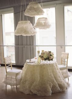 Love the petticoats on lights... and the chairs...  Party & Events at    http://pinterest.com/dsgoodin1/