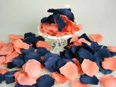 Coral and Blue Rose Petals 200 Artificial Petals Coral & Navy Wedding Blueberry Blue Coral Flower Girl Basket Petals - Table Scatter Trendy Wedding, Our Wedding, Wedding Ideas, Wedding Stuff, Wedding Blue, Summer Wedding, Coral Navy Weddings, Wedding Colors, Wedding Flowers