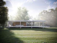 Icon: Mies van der Rohe's Farnsworth House 3D Renderings  ヴァンデルローエ良いですねえ。ファンワース邸はあこがれる