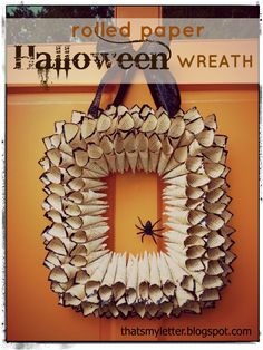 """That's My Letter: """"S"""" is for Spider Wreath, rolled paper Halloween wreath"""