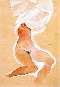 Seated Nude Girl with Shirt over Her Head, Egon Schiele  1910