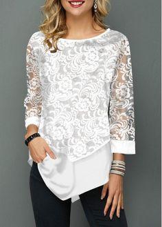 Lace Panel Asymmetric Hem Round Neck T Shirt – T-Shirts & Sweaters Stylish Tops For Women, Trendy Tops For Women, Casual Chique, Women's Casual, Fashion Outfits, Womens Fashion, Fashion Clothes, Fashion Weeks, Fashion Fashion